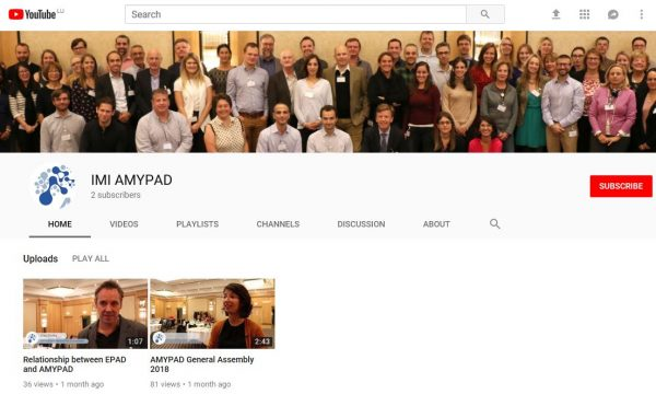 AMYPAD has its own YouTube Channel